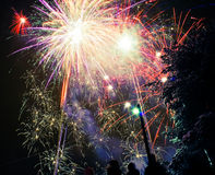 Fireworks. New year fireworks over sky Royalty Free Stock Photo