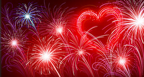 Fireworks. Vector illustration of fireworks. To Valentine's day Royalty Free Stock Image