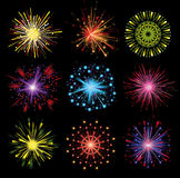 Fireworks. Set of 9 colorful fireworks vector illustration