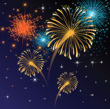 Fireworks. Abstract background with fireworks on the sky vector illustration