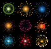Fireworks. Set of 9 highly detailed fireworks vector illustration