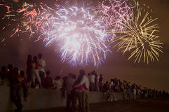 Fireworks. People watching fireworks competition, Manila, Philippines Royalty Free Stock Image