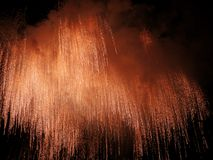 Fireworks. Falling fireworks Royalty Free Stock Photo