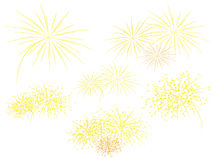 Fireworks. Set of bright starry fireworks Royalty Free Stock Photos
