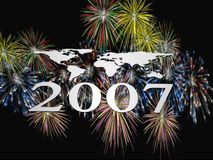 Fireworks 2007. 3D illustration, wallpaper, background. New year 2007 colorful fireworks  explosions Royalty Free Stock Photography