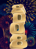 Fireworks 2008. Number 2008 and fireworks in the sky, vector Stock Images