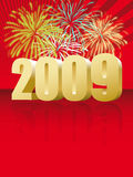 Fireworks and 2009. Illustration of fireworks and the new year 2009 Royalty Free Stock Photography