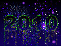 Fireworks 2010 background. Fireworks display and sparks spelling 2010 for New Years Royalty Free Stock Photography