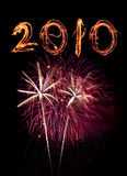 Fireworks and 2010 sparkler number Royalty Free Stock Photo
