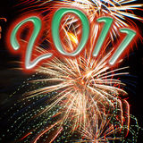 Fireworks of 2011. Fireworks with 2011 text to represent a new year celebration Royalty Free Stock Photos