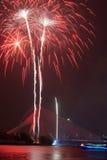 Fireworks at 2011 Putrajaya Floria Festival. PUTRAJAYA, MALAYSIA - JULY 11: A fireworks event is shown every night at the 2011 Putrajaya Floria Festival on July Stock Photo