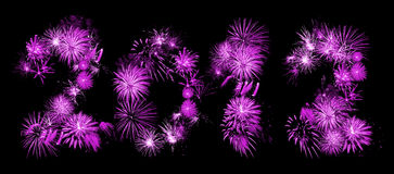 Fireworks 2012. New year 2012 fireworks font Royalty Free Stock Photos