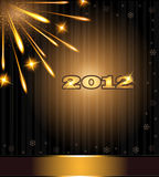 Fireworks 2012 congratulations. Template card Stock Photos