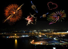 Fireworks. Colorful fireworks over the city of Bangkok Stock Images