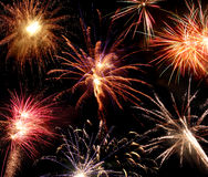 Fireworks. Different types of fireworks on a black background Stock Photo