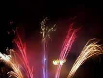 Fireworks. Fire works at night royalty free stock photo