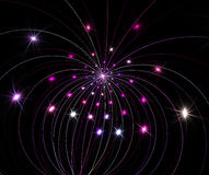 Fireworks. Fractal with violet and pink star on black background Royalty Free Stock Images