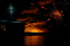 Fireworks. Firework display at the waterfront in Mauritius Royalty Free Stock Images