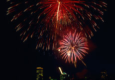 Fireworks. In Night Sky Over City Royalty Free Stock Image
