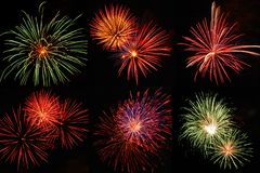 Fireworks. Six firework on black background Royalty Free Stock Photo