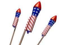 Fireworks. Three celebratory rockets set up ready to launch Royalty Free Stock Photos