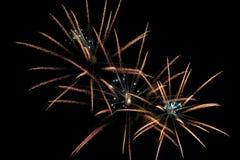 Fireworks. Seasonal fireworks on the night sky Stock Photos