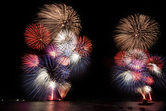 Fireworks. Bursts of colorful fireworks over the sky Stock Photography