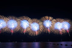 Fireworks. Bursts of colorful fireworks over the sky Stock Photo