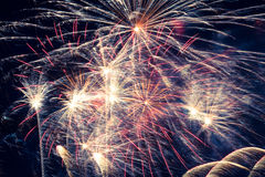 Fireworks. Golden fireworks in colorful shades of yellow and orange Royalty Free Stock Image