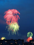 Fireworks. In a city Stock Photography
