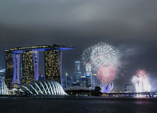 Fireworks. Within singapore city skyline stock images