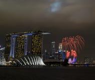 Fireworks. Within singapore city skyline stock photo