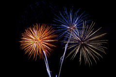 Fireworks. Colorful fireworks on dark sky royalty free stock photo