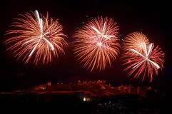 Fireworks. The most beautiful fireworks French, to the city of Carcassonne Stock Photos