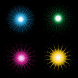 Fireworks. A set of four colorful fireworks on a black background Stock Image