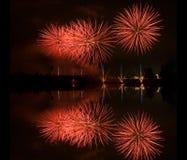 Fireworks. Photo of fireworks on a lake stock photo