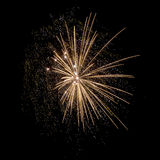 Fireworks. Golden fireworks in a dark night Stock Images