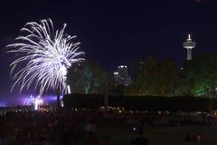 Fireworks. Over Niagara Falls, Canada Stock Photo
