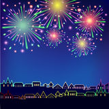 Fireworks. Illustration of fireworks over night city Royalty Free Stock Photos