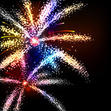 Fireworks. A colourful set of fireworks illuminates the night sky Stock Photo