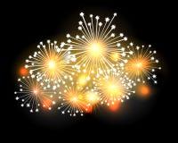 Fireworks. A bright set of fireworks illuminates the night sky Royalty Free Stock Photo