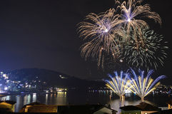 Fireworks. On the Lake Maggiore, Italy Royalty Free Stock Images