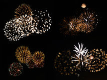 Fireworks. A collection of colorful fireworks breaking the darkness stock image