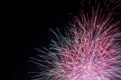 Fireworks. Beautiful fireworks on the black sky Stock Photos