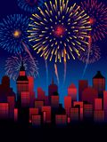 Fireworks. Carnival fireworks over a town, decoration ready for posters and cards Royalty Free Stock Images