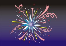 Fireworks. Multi-coloured fireworks on a black - dark blue background Royalty Free Stock Image