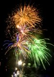 Fireworks. A picture of the dark sky, coloured brightly by fireworks Royalty Free Stock Photo