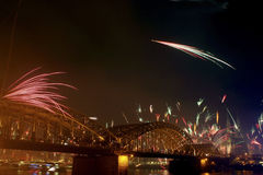 Fireworks. Blowing in the sky at night stock photo