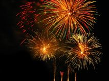 Fireworks. Beautiful colorful fireworks over night sky Stock Image