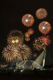 Fireworks. Beautiful fireworks show above a bridge Royalty Free Stock Photos